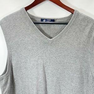 J Crew L Sweater Vest 100% Cotton Gray Sleeveless